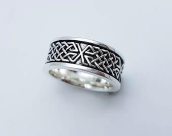 Celtic V.2,Silver Celtic Ring, 925 Sterling Silver,Black
