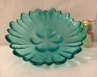 """Vintage Aqua Heavy Art Glass Large Flower Bowl 12"""" diameter Blenko? Hand Made"""