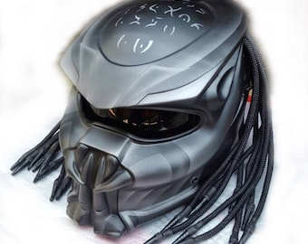 Doff Gray Finishing Predator Helmet Street Fighter Fiber Material DOT Approved
