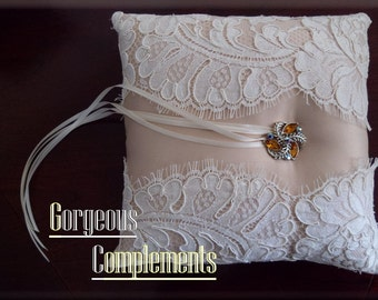 Ivory Champagne Ring Bearer Pillow with Vintage Alencon French Lace
