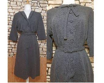 1960s XL Pinstripe Secretary Dress