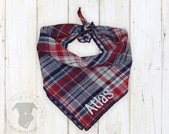 Reversible Red White and Blue Plaid Custom Dog Bandana with Your Dog's Name