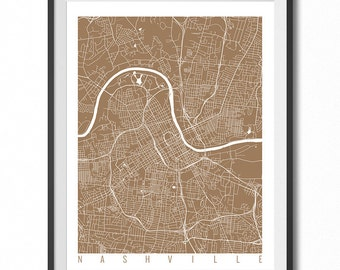 NASHVILLE Map Art Print / Tennessee Poster / Nashville Wall Art Decor / Choose Size and Color