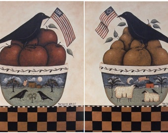 Patriotic Crows. Bowl of Apples and Pears. Pastoral landscape bowls, sheep, American flag. Primitive Americana folk art by Donna Atkins