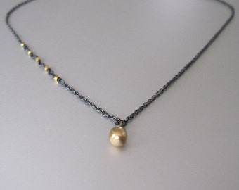 Antiqued Sterling Silver with Solid 18k and 14k Gold Necklace