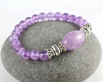 Amethyst Stretch Bracelet, Gemstone Bracelet, Yoga Stretch Bracelet, Amethyst Bracelet, Yoga Bracelet, Lavender Amethyst, Mala Bracelet