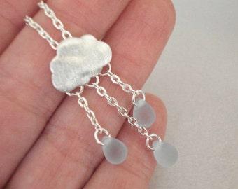 Silver Cloud Necklace Raindrop Necklace Cloud Necklace Rain Necklace with Rain Teardrop Beads Jewelry