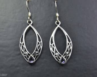 Celtic Design Sterling Silver Earrings with an Amethyst Gemstone