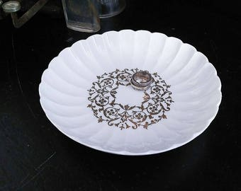 Antique Limoges France Scallop and Gold Filigree Butter Pat Plate
