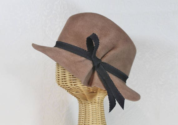 1930s Style Hats | 30s Ladies Hats Womens Velour Felt Pleated Fedora in Camel ~ Dora ~ 1930s rain hat classic ~ handmade by Bonnet your local Portland millineryWomens Velour Felt Pleated Fedora in Camel ~ Dora ~ 1930s rain hat classic ~ handmade by Bonnet your local Portland millinery $180.00 AT vintagedancer.com