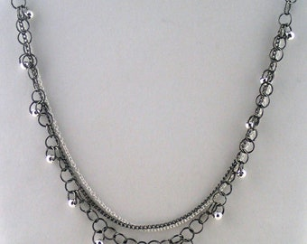 """Hoopla Necklace in silver - 18"""" handmade chain necklace with silver beads. Made to order in NYC."""