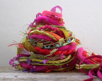 flower child fringe effects™  21 yards art yarn bundle specialty fibers ribbons trim embellisment textile pack . red pink green yellow