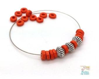 Greek 20 ceramic rondelle beads orange matte 6 mm (pc234)