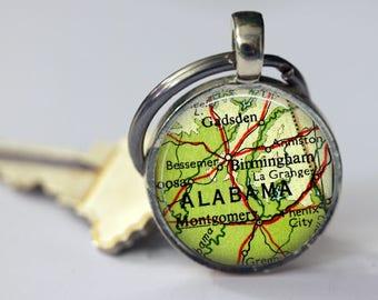 Alabama Mens Keychain, Birmingham key chain for Men, Grandfather keychain, custom keychain, Montgomery, Alabama State Keychain gift for him