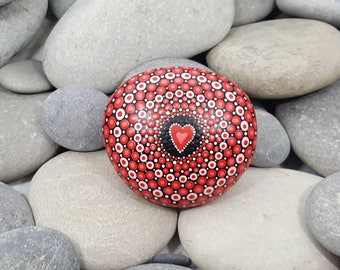 Red Mandala Stone - Love Painted Rock - Chakra - Mandala Art - Painted Stone - Mandala Rock - Zen