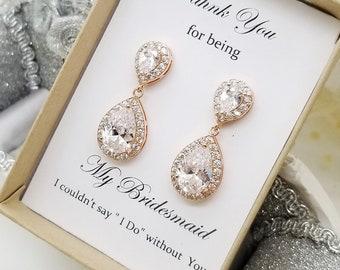 Rose Gold Teardrop Cubic Zirconia Earrings, Bridesmaid earrings gift