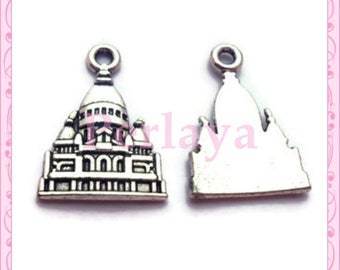 Set of 15 charms Taj Mahal silver REF395X3