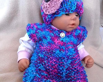 Baby Knitting PATTERN - Cardigan Sweater, Hat, Flower Set - Beginner Pattern -Sizes: Newborn to 6 years, num. 745, Bon-Bon, children's shrug