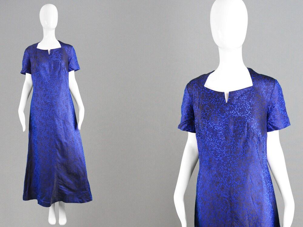 Vintage 60er Jahre Abendkleid blau & Schwarz 1960er Jahre