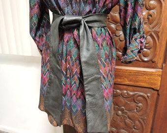 Black Leather Sash Belt, Vintage