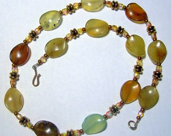 Antique Soocho Jade and Czech Fire Polish Beads Necklace by Carol Wilson of Je t'adorn