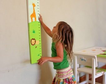 Personalized Zoo Animals Growth Chart - Zoo Friends Growth Chart for children - Lion and Giraffe safari animals wall decor