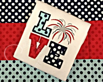 Love Fireworks Chevron & Polka Dot Embroidered Applique - Navy Mint Red Silver - 4th of July Patriotic - Shirt 100% Cotton - MADE TO ORDER