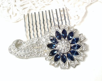 OOAK 1920 Sapphire Rhinestone Hair Comb/Hair Clip,Silver Bridal Navy Wedding Headpiece Something Old Blue Hairpiece Small Antique Dress Clip