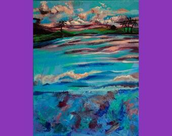 Hawaiian Sunset Abstract Acrylic Painting Original canvas