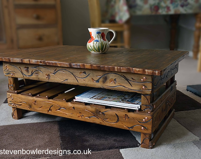 Country Cottage Style Rustic Reclaimed Wood Coffee Table with Decorative Carving & Under Shelf Storage Free Uk Shipping Handmade to Order
