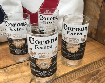 4 x Hand Finished, Recycled Beer Bottle Glasses (Corona)
