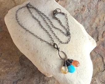 SUNSTONE , Rutilated QUARTZ, Sleeping Beauty TURQUOISE charm necklace sterling silver AngryHairJewelry, artisan handmade jewelry