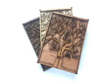 3D Wedding Invitation made of Wood- Unique wedding invitations,Tree Wedding Invitations,Lovebirds Wedding Invitations, Unique Greeting Cards