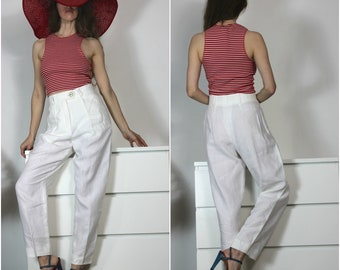 Vintage 80s White Pants Linen Trouser Made in West Germany