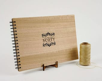 Personalised A4 Wooden Wedding / Engagement / Guestbook / Photo book. FREE AU Shipping!