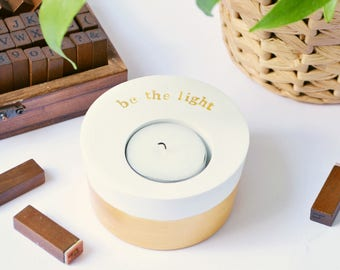 "Inspiring gold candle holder, tealight holder with quote ""be the light"" motivational present, housewarming, mentoring gift, valentines gift"