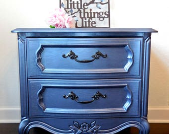 SOLD!  French Provencial night stand metallic silvery blue-gray