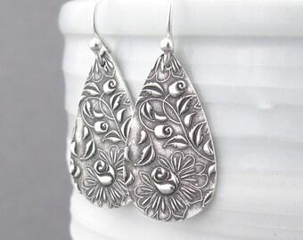 Sterling Silver Earrings Dangle Silver Earrings Rose Earrings Modern Jewelry Bohemian Jewelry Holiday Gift for Her - Abigail