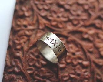 roman numeral ring: sterling silver - personalize with your own special date (made to order)