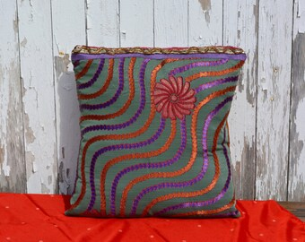 Saree Pillow, Purple, Red and Brown swirls with flower