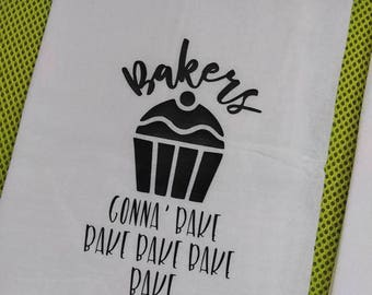 bakers bake flour sack towel functional gift jubilee hand towel kitchen - Bakers Gonna Bake Kitchen Redwork Embroidery Designs