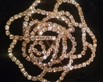 Rose Rhinestone Brooch