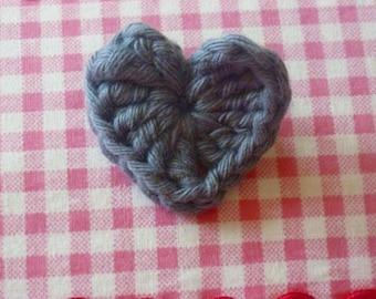 Grey Crochet Heart Brooch