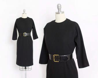 Vintage 1950s Dress - Black Wool Fitted Wiggle Day Dress 50s - Small S