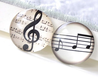 Music Note Photo Glass Cabochon Clef Dome Round Cameo Size 25mm