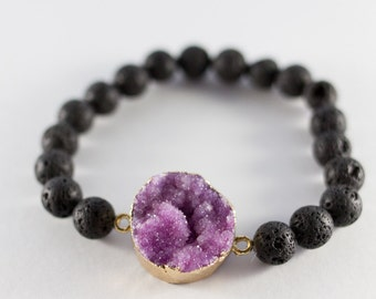 Lava diffuser bracelet | Druzy. Essential oil bracelet. Christmas gift. Gift for her. Aromatherapy Jewelry. Lava. Gemstone diffuser.