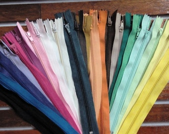 Wholesale Lot of 24 - 6, 7, 8, 10, 12 inch long assorted random color Nylon zippers, sewing supplies