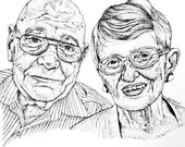 Portrait de Couple/famille personnalisé stylo et encre
