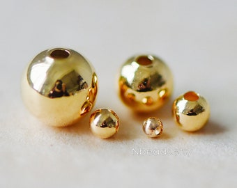 Gold plated Brass Smooth Round Spacer Beads,  2/ 3/ 4/ 6/ 8mm, Lead Nickel Free (GB-019)