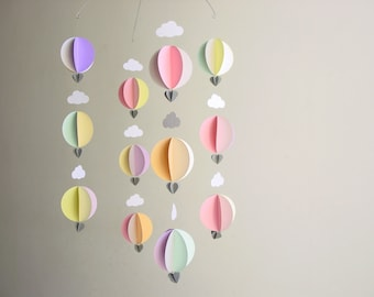 Hot Air Balloon Baby Mobile - Baby shower decorations - Travel theme baby shower - hot air balloon decorations - nursery decor - baby gift